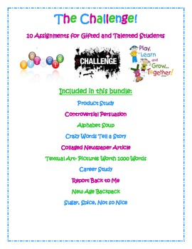 The Challenge- 10 Projects and Activities for Gifted and Talented Students