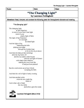 """The Changing Light"" by Lawrence Ferlinghetti: Quick Picture Analysis"