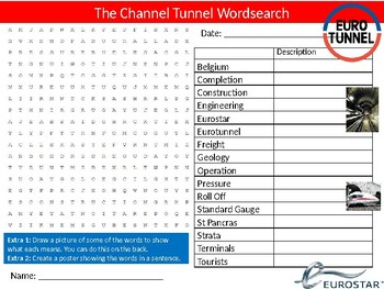 The Channel Tunnel Wordsearch Puzzle Sheet Britain France Famous Building