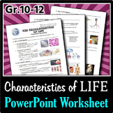 The Characteristics of Life - PowerPoint Worksheet {Editable}