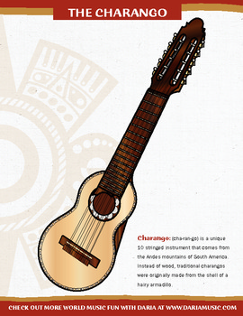 The Charango – An Instrument from South America – Mini-Poster and Coloring Page