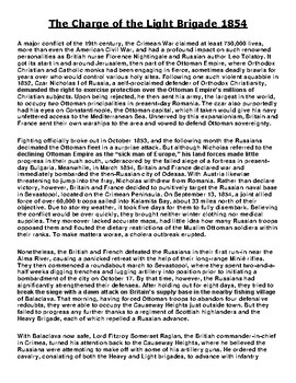 The Charge of the Light Brigade 1854 Article and Assignment