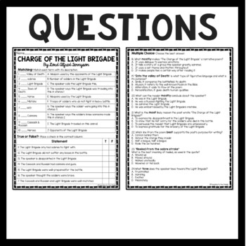The Charge of the Light Brigade Poem & Questions; Tennyson; Crimean War