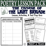 The Charge of the Light Brigade: Common Core Poetry Test Prep Quiz & Activities