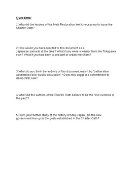 The Charter Oath  (of the Meiji Restoration),1868