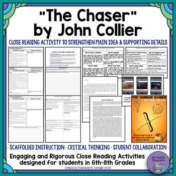"""The Chaser"" Unit: Close Reading Activity for Main Idea & Supporting Details"
