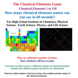 The Chemical Elements Game - Elements 1 to 118