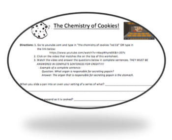 The Chemistry of Cookies - TED ED - Holiday Science Worksheet