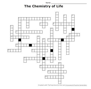 The Chemistry Of Life Crossword Puzzle