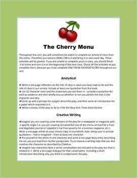 The Cherry Orchard Differentiated Activity Menu