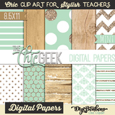 The Chic Geek Mint, Gold, and Wood Digital Papers