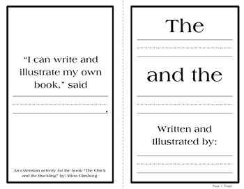 The Chick and the Duckling Inspired Writing Extension Booklet