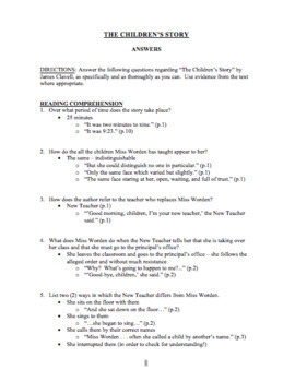 """""""The Children's Story"""" Reading Comprehension & Analysis Questions w/ Answer Key"""
