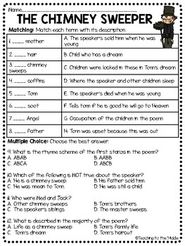The Chimney Sweeper Poem Analysis And Comprehension Worksheet