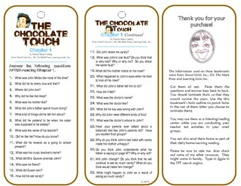 The Chocolate Touch Chapter 1 (Comprehension Check) Bookmarks