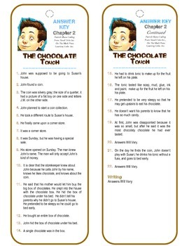 The Chocolate Touch Chapter 2 (Comprehension Check) Bookmarks