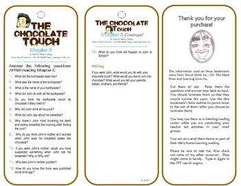 The Chocolate Touch Chapter 3 (Comprehension Check) Bookmarks