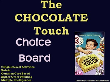 The Chocolate Touch Choice Board Novel Study Activities Menu Book Project Rubric