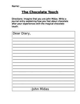 The Chocolate Touch Diary Entry