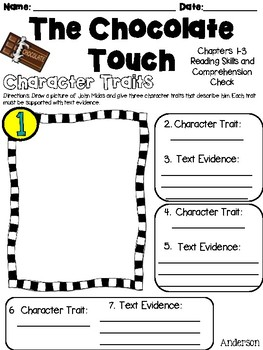 The Chocolate Touch: NO PREP Reading Skills and Comprehension Questions