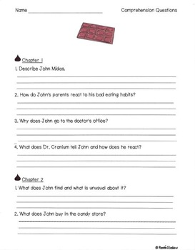 The Chocolate Touch Novel Activities and Lapbook