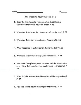 The Chocolate Touch Novel Reading Comprehension Worksheets