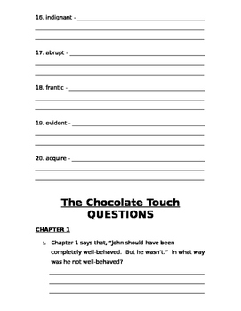 The Chocolate Touch Packet