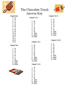 The Chocolate Touch Reading Comprehension set
