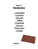 The Chocolate Touch Vocabulary lists