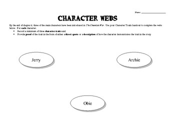 The Chocolate War - Chapter 2 Character Webs
