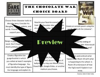 The Chocolate War Choice Board Novel Study Activities Menu Book Project Rubric