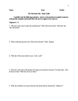 The Chocolate War Comprehensive Study Guide - CCSS Aligned