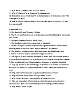 The Chocolate War - Study Guide Questions / Chapter Questions