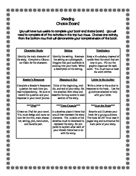 The Choice is Up to You - A Reading Choice Board