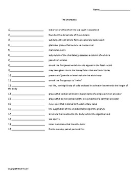 The Chordates Vocabulary Quiz or Worksheet for Zoology