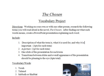 """The Chosen"" Vocabulary Project"