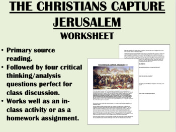 """""""The Christians Capture Jerusalem"""" - Reading with Questions-Global/World History"""