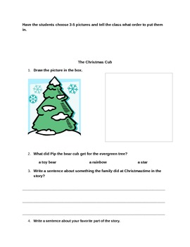 """The Christmas Cub"" activities for language arts and motor skills"