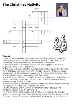 The Christmas Nativity Crossword