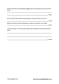 The Christmasaurus Guided Reading Questions