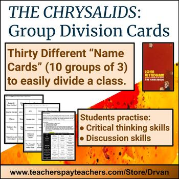 The Chrysalids – Class Set of Group Division Cards (Trios: 10 groups of 3)