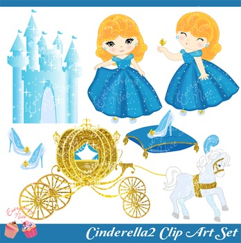 The Cinder Girl Princess Cinderella 2 Castle Clip Art Set