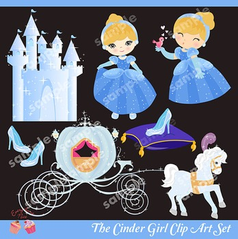 The Cinder Girl Princess Cinderella Castle Clip Art Set