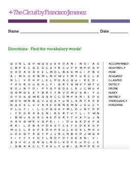 The Circuit by Francisco Jimenez (Word Search)