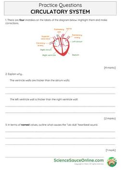 The Circulatory System - Handout and practice questions