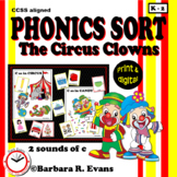 PHONICS SORT Circus Clowns Literacy Center Hard C Soft C Phonics Activity