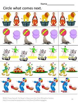 Circus Cut and Paste Activities Special Education Preschool Kindergarten