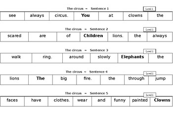 The Circus Level 1- simple, compound and complex sentence jumbles
