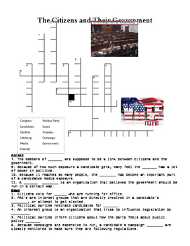 The Citizens and Their Government Crossword or Web Quest