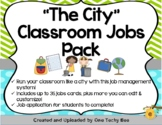 """The City"" Classroom Jobs Pack - Lime Green, Turquoise, and Grey (Chevron Theme)"